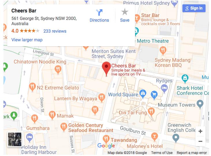 cheers bar sydney map